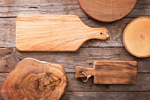 Wooden background and cutting boards