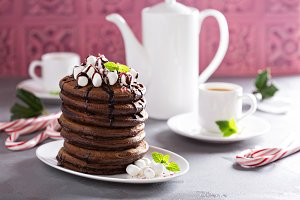 Chocolate mint christmas pancakes