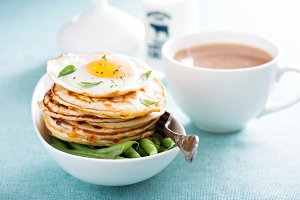 Savory cheese pancakes with egg