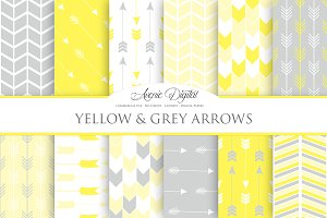Yellow & Gray Arrows Digital Paper