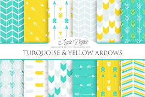 Turquoise and Yellow Arrows Papers