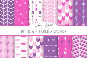 Pink and Purple Arrows Digital Paper