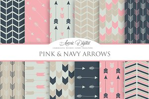 Pink and Navy Arrows Digital Paper