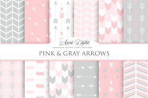 Pink and Grey Arrows Digital Paper