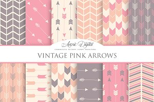 Pink Vintage Arrows Digital Paper
