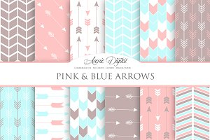 Pink and Blue Arrows Digital Paper