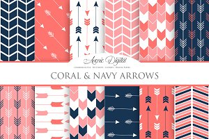 Coral and Navy Arrows Digital Paper