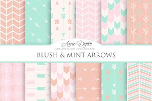 Blush and Mint Arrows Digital Paper
