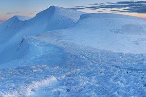 Sunset mountain winter panorama