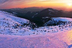 Sunrise mountain panorama