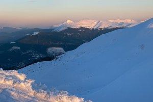 Twilight winter mountain