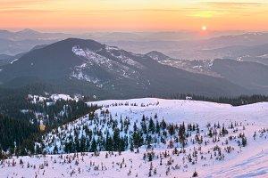 Sunrise winter mountain panorama