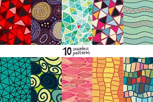 10 abstract seamless patterns