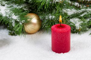 Holiday Burning Red Candle