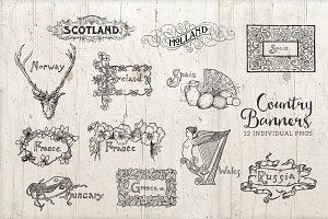 Country Banner Logos Vintage PNG