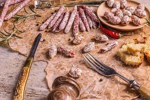 Set of salami sausages