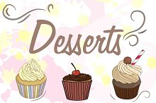 Vector set with cupcakes