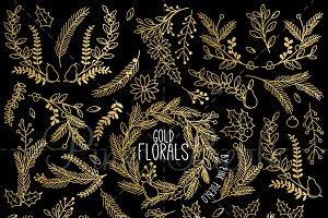 Faux Gold Foil Christmas Florals