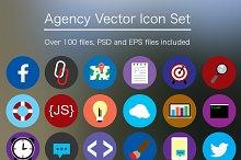 Flat Agency Icon Set - PSD & Vector