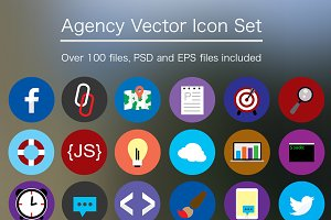 Flat Agency Icon Set - PSD & Vector