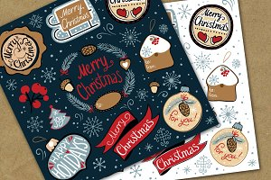 Merry Christmas decorate label