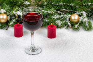 Red Wine in Glass for the Holiday
