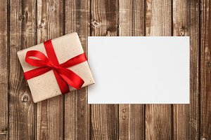 Gift box and blank greeting card
