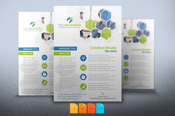 flyer business tech flyer templates creative market