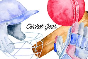 Watercolor Sport Cricket Gear