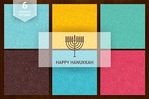 Hanukkah Line Art Seamless Patterns