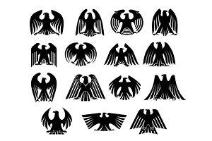 Eagle heraldry silhouettes set
