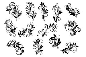 Retro floral motifs and foliate vign