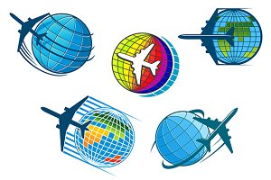 Airplane and air travel icons with g