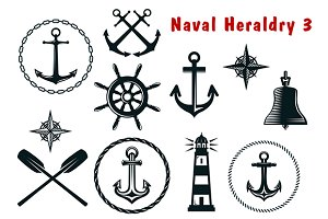 Naval heraldry icons set
