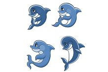 Cartoon dolphin calves set