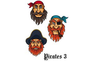 Cartoon fierce pirates set