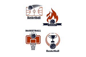 Basketball sport emblems or logos