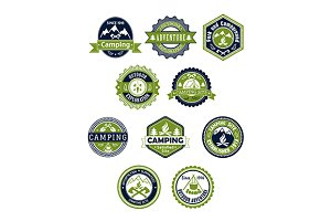 Camping and travel icons or badges