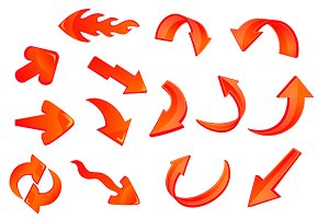 Red glossy arrows icons set