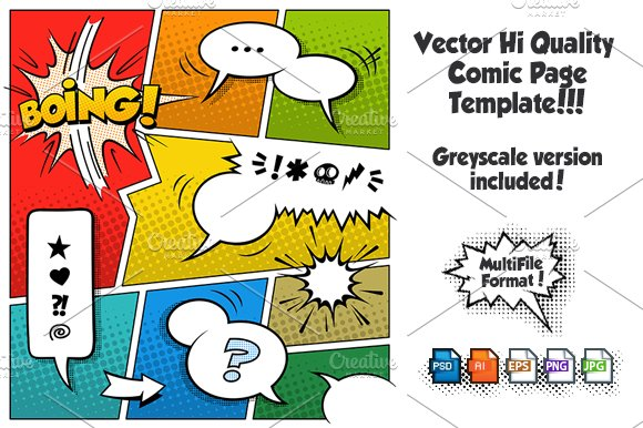 Vector Comic Page Template 2 ~ Illustrations ~ Creative Market