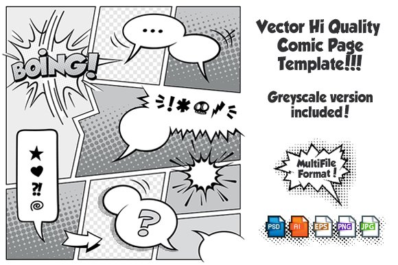 Vector comic page template 2 illustrations creative market maxwellsz