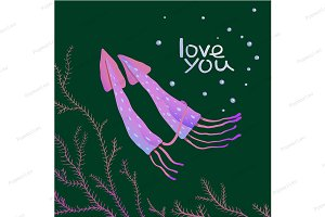 Squids Love Cartoon Greeting Card
