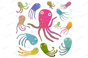 Octopus Cartoon Clip Art Collection