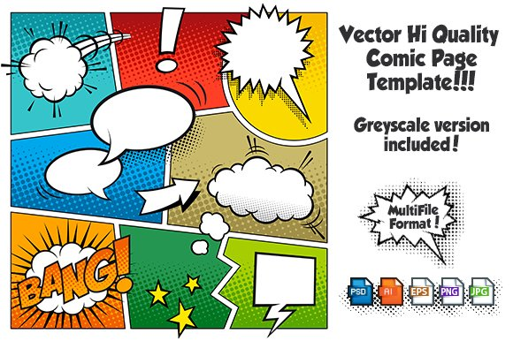 Vector comic page template 1 illustrations creative market maxwellsz