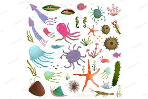 Sea Life Animals Cartoon Clip Art Co