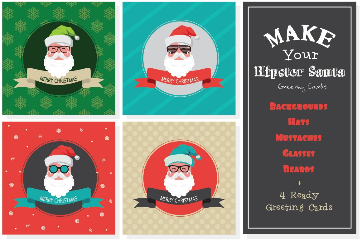 Xmas Hipster Greeting Cards ~ Illustrations ~ Creative Market