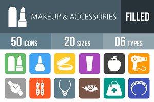 50 Makeup Flat Round Corner Icons