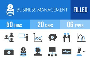50 Business Blue & Black Icons