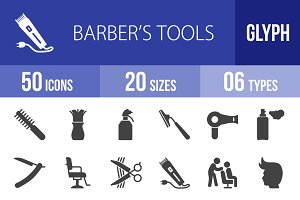 50 Barber's Tools Glyph Icons