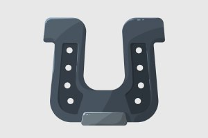 Stylized shiny steel gray horseshoe